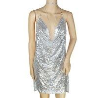 Kobiety Sexy Hollow Out przywiązany Metal Halter Cekiny Głębokie V Neck Strap Wieszak Naszyjnik Łańcuch Mini Suknia Bez Rękawów Party Dress