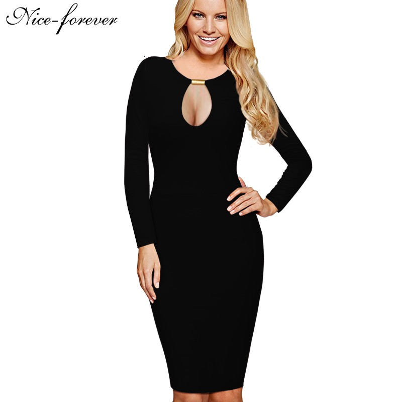 Nice Forever Long Sleeve Solid Mini Dress Women Vintage
