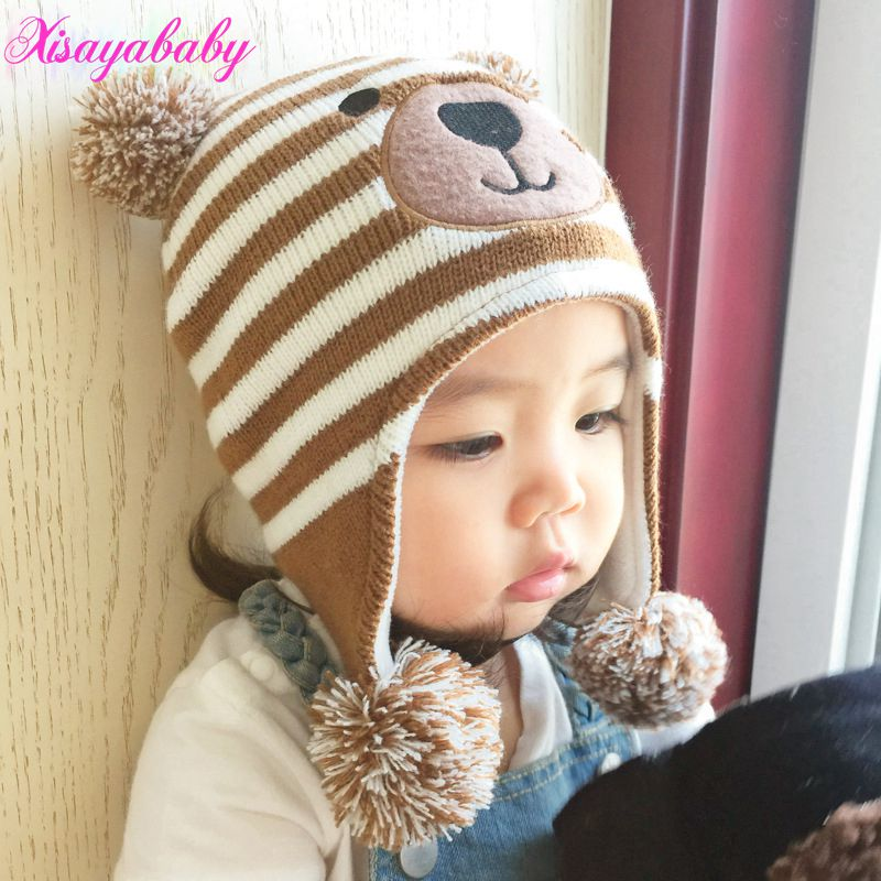 Knitted Baby Hat with Ears Cartoon Bear Animal Hats for Kids Solid Christmas Baby Girl Winter hat Thick Warm Toddler Hat Beanies