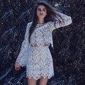Из двух частей наряды платья 2017 Белые Женщины кружево dress For love dress лимоны vestido де феста халат femme