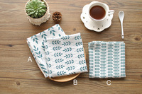 3pcs Lot Linen Cotton Leaves Printing Dishtowel Napkin Kitchen Towel Cleaning Cloth Tea Towel Ultra Durable