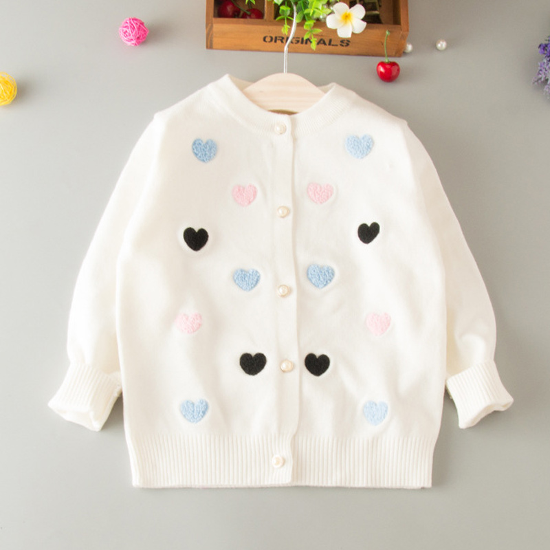 Sweater Cardigan For Girls Heart Cotton Solid Sweater Coat For Girl - Children's Clothing - Photo 4