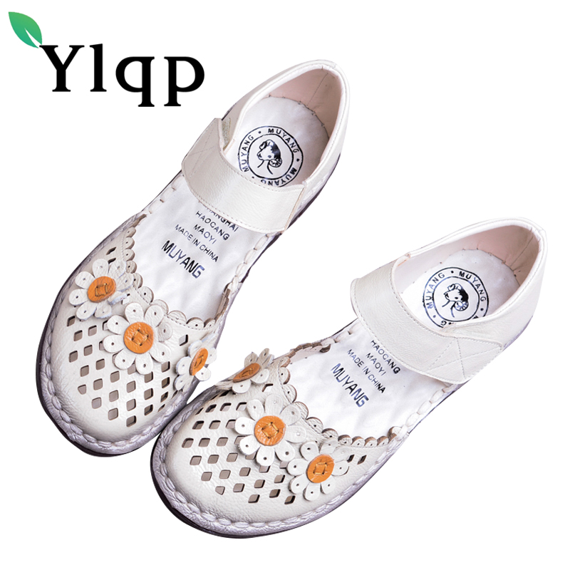Ylqp Women's Genuine Leather Sandals Shoes Summer Soft Bottom Comfortable Flat Bottomed Mother Sandals Hollowed Out Ladies Shoes ylqp women s genuine leather sandals shoes summer soft bottom comfortable flat bottomed mother sandals hollowed out ladies shoes