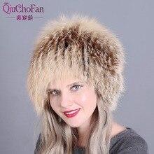 Gorros de piel de Invierno para mujer, gorros tejidos de piel auténtica de zorro, gorros superelásticos de estilo ruso 2018