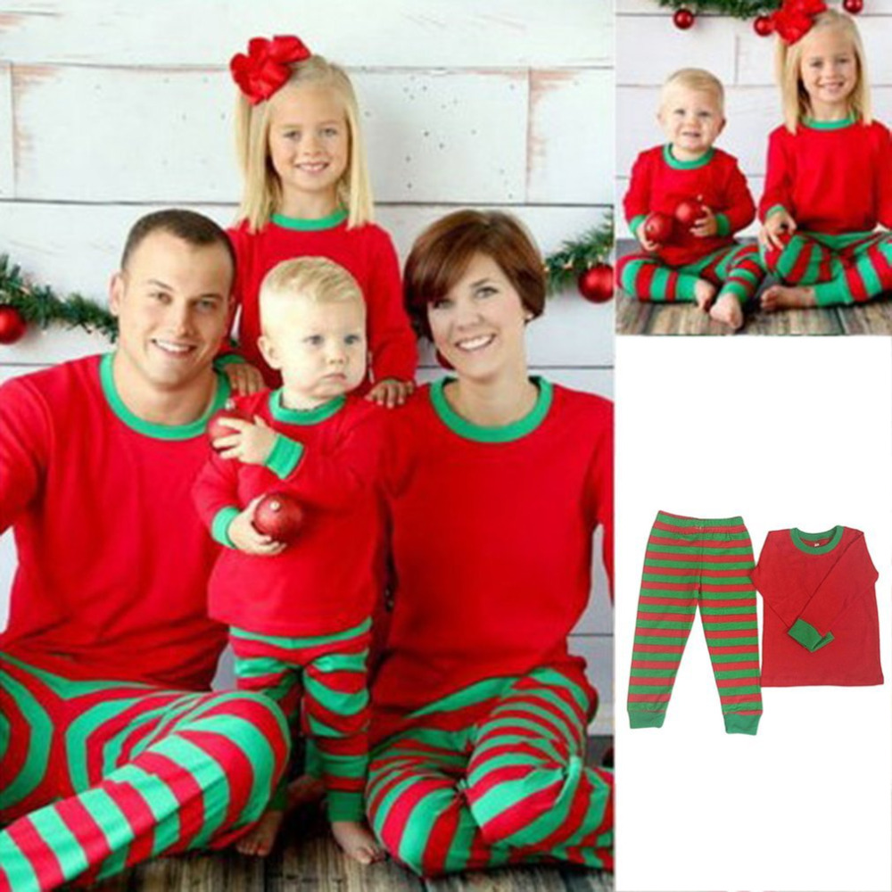 Comfortable Christmas Pajamas Autumn Winter Mother Father Daughter Son leisure wears Red&Green Striped Family Clothes Sets 2017