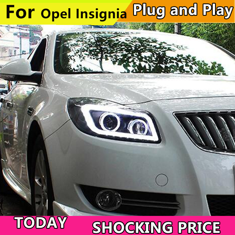 Car headlights for Verano Regal Opel insignia LED Strip Headlight with Bi Xenon Projector Lens 2010-2013 Year Double Color front