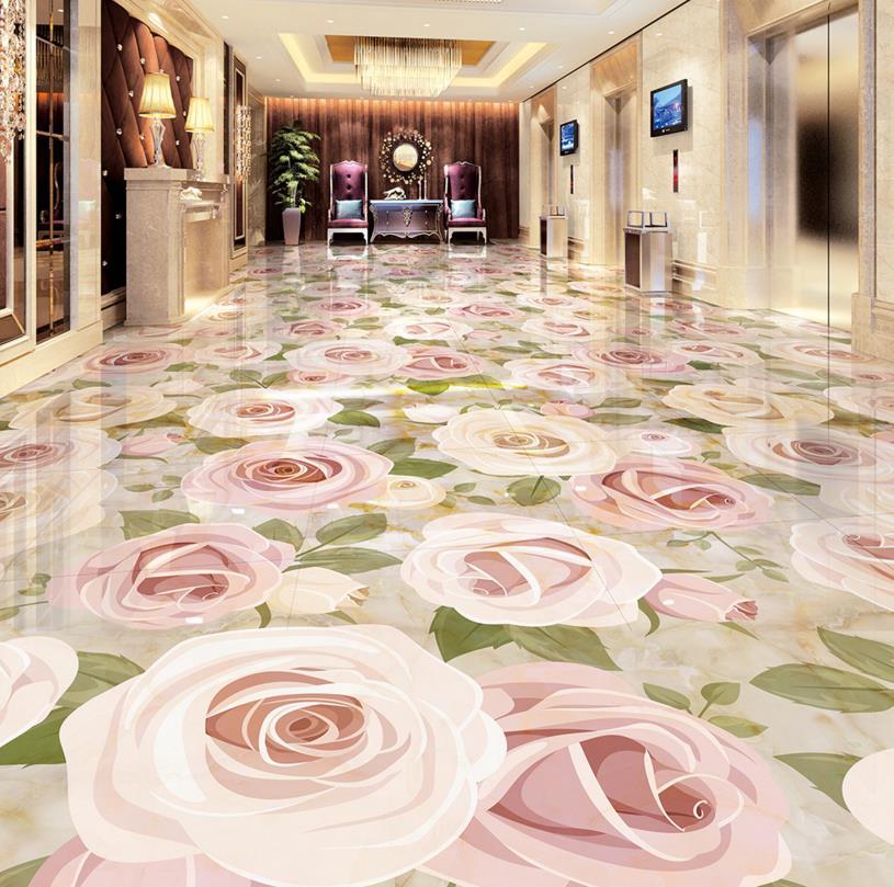 ФОТО 3d floor self adhesive europea custom plant flower 3d Marbling floor pink rose self adhesive wear waterproof PVC murals