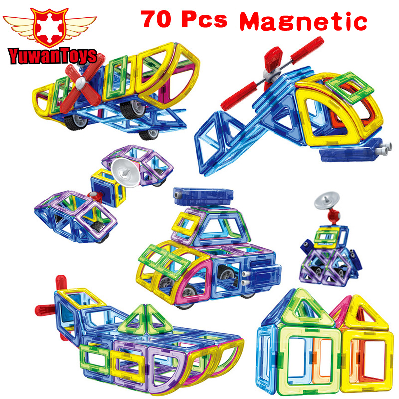 New 2017 70Pcs/Set Magnetic Designer Building Blocks Models Building Toy Plastic DIY Bricks Children Learning Educational Toys wange educational learning toys kids diy set toys cars plastic model kits building bricks blocks for boys 4 in 1 with motor