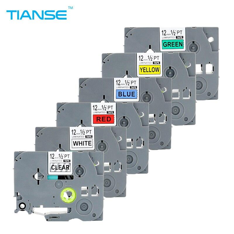 TIANSE 6 pcs TZe-131 TZe-231 TZe431 TZe-531 TZe-631 TZe-731 pour Imprimante Brother P-touch Bande 12mm x 8 m Laminés TZ Rubans D'étiquettes