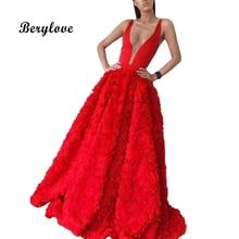 BeryLove бальное платье красного цвета платья для выпускного вечера 2018 цветы долго выпускного вечера платья V шеи вечерние платья Для женщин выпускного вечера вечерние платье для выпускного бала
