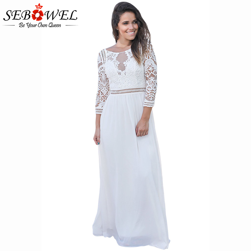 Sebowel 2018 New Elegant White Lace Crochet Maxi Dress Women Chiffon