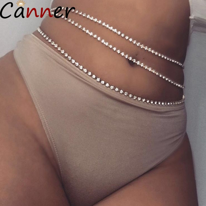CANNER Necklaces Jewelry Waist-Chain-Belt Beads Body-Chain Rhinestone Silver Sexy Bohemia