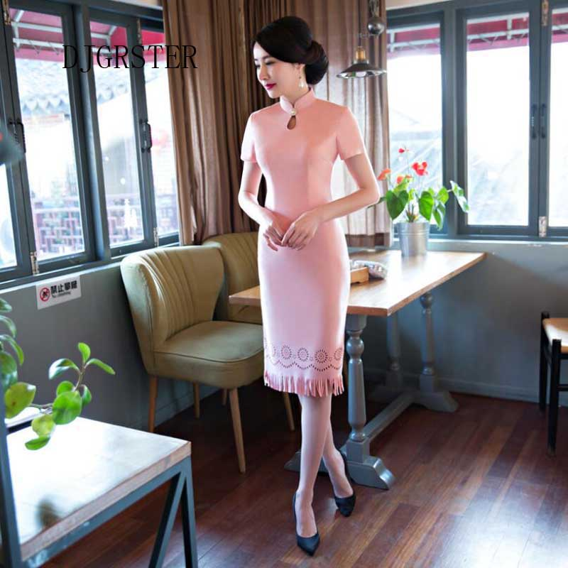 DJGRSTER Modern Qipao Dress Pink Floral Velvet Qipao Plus Size Short Cheongsam Dress Traditional Chinese Clothing for Women