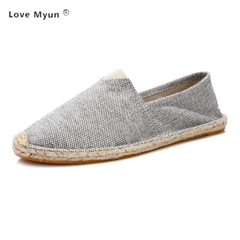 Men Hemp Slip-On Fisherman Shoes 2017 Brand New Plus Size 37-45 Breathable Espadrilles Flats Solid Moccasins 1003