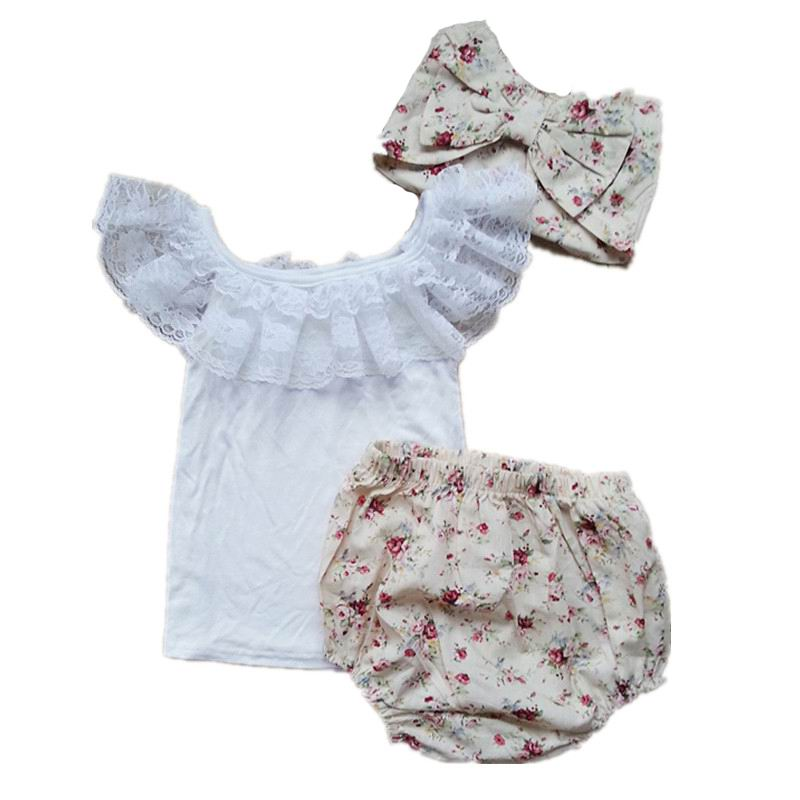 3PCS Infant Clothing Set Newborn Baby Summer Lace T-shirts+Shorts+Headband Cotton Sets Toddler Girl Clothes 0-3T 1648