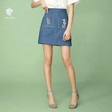31ccf6d41b FANSILANEN 2019 nueva llegada de moda de verano primavera las mujeres las  trapecio en Denim faldas Midi estilo chino ropa barata.