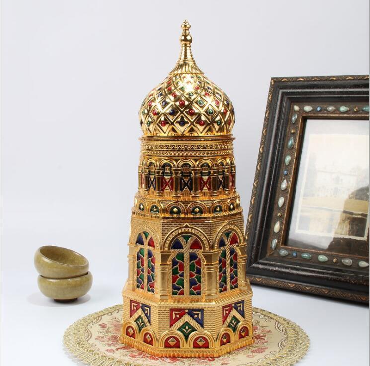 Boîte de stockage de boîtes de thé en métal de forme d'église européenne boîtes de café en poudre scellées contenant des feuilles de thé boîte en fer blanc boîte à thé Organiz CYG07