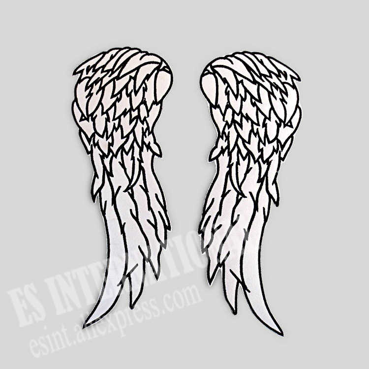 Angel Wings Embroidery Patches for Jacket Back Vest Motorcycle Club Biker 18*7cm