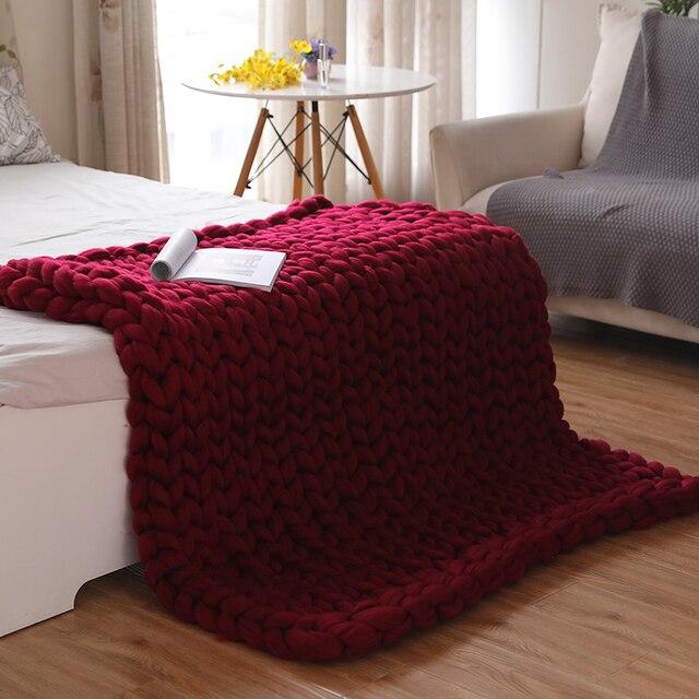 Plaid tricoté à grosse maille de couleur uni Plaids et Couvertures 🎁 Idées Cadeaux Cocooning.net