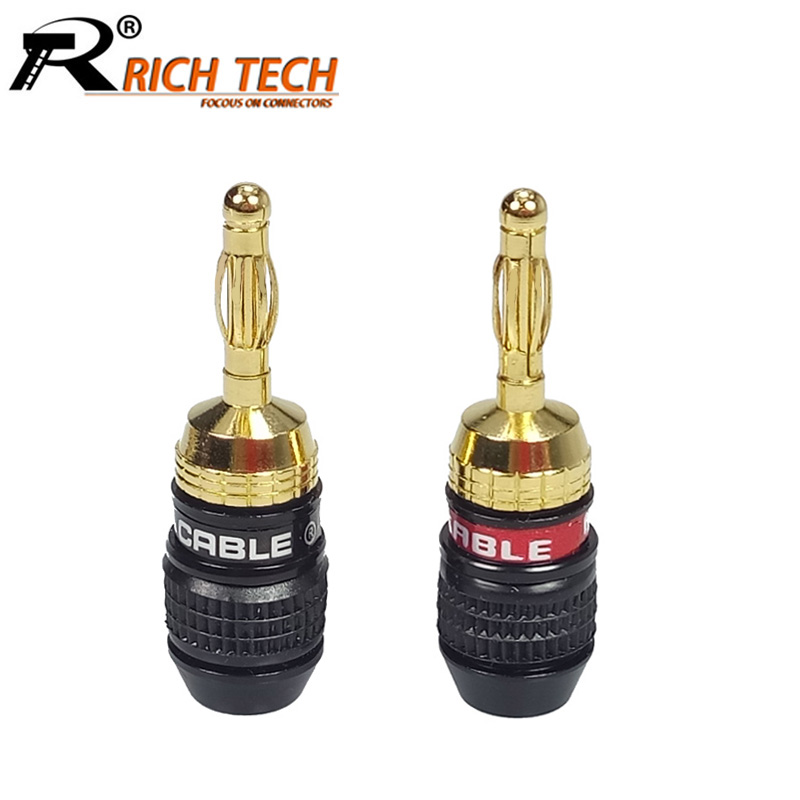 10pcs/lot Speaker Banana Plugs High Quality Gold Plated Banana Male Plug Wire Connector RICH TECH R Speaker Connector gold plated copper bfa 4mm banana plug male speaker connector 4pcs lot