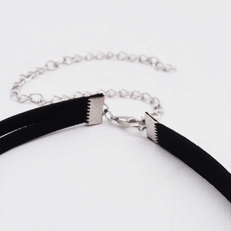 Czarne zamszowe naszyjnik naszyjnik wielowarstwowe skórzane aksamitne naszyjnik Colares biżuteria naszyjnik biżuteria punkowa prezenty 8ND342