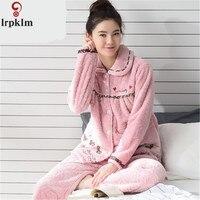 Women Coral Fleece Sleepwear Pajama Sets Lady Winter Warm Women Nightgown Sweet Dot Print Girl Flannel Pajama Set Nighty SY764