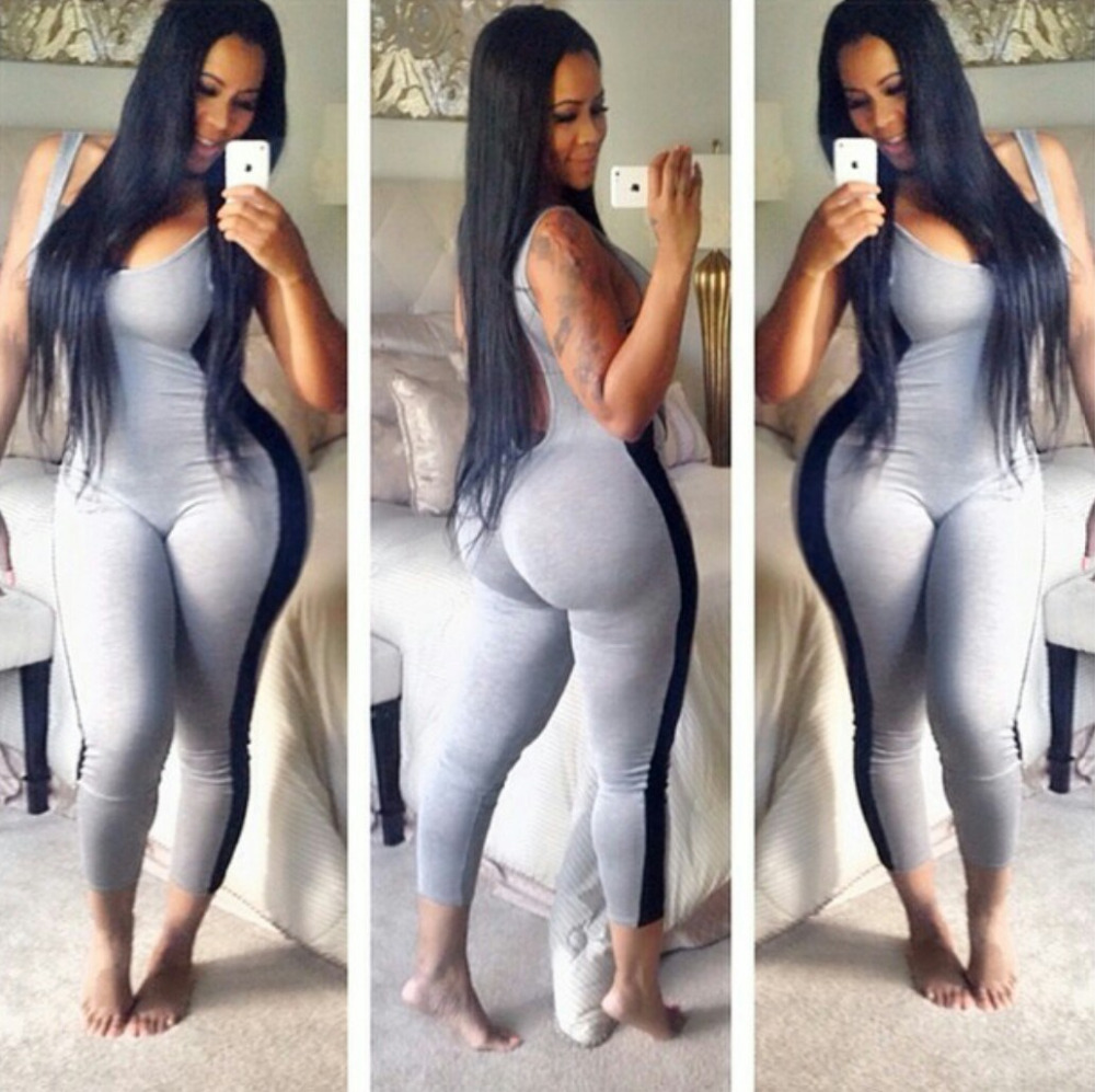 1ab360c87552 Summer New Style Sexy One Piece Outfits Bodycon Grey Jumpsuits Playsuit Sexy  Patchwrok Backless Club Wear Rompers Women Jumpsuit on Aliexpress.com