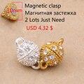 (Orden mínima 5 $) 10mm, 12mm, 14mm Venta Caliente Corchetes Magnéticos para La Joyería conclusiones y fabricación de joyas 5 unids/lote