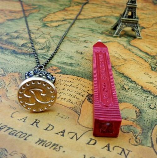 Wave letter belt necklace wax stamp