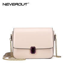 NEVEROUT Solid Flap Small Bags Female Messenger Bag Diamonds Mini Leather Women Chain Spring Fashionable Handbags for Girls
