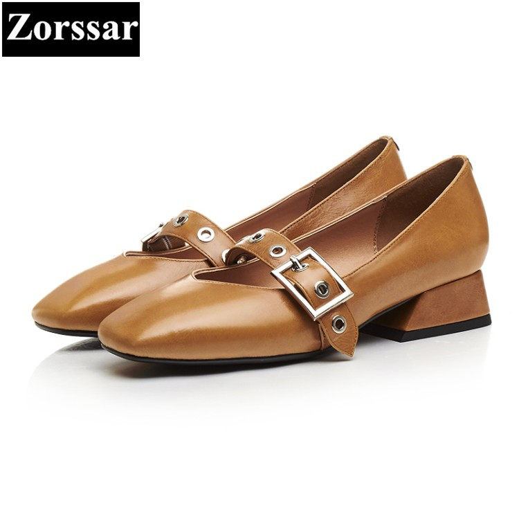 {Zorssar} Genuine Leather women shoes Square toe High Heels Fashion pumps womens Work shoes Single shoes Brown, black