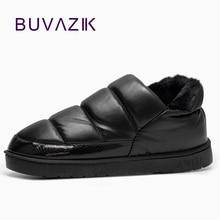 Nueva llegada a prueba de agua de las mujeres de LA PU de cuero botas de nieve caliente felpa corta botines femeninos zapatos de invierno mujer grande tamaño grande 41 45