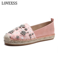 LOVEXSS Crystal Espadrille Shoes Oxford Rhinestone Genuine Leather Woman Flats Silver Black Large Size 33 43