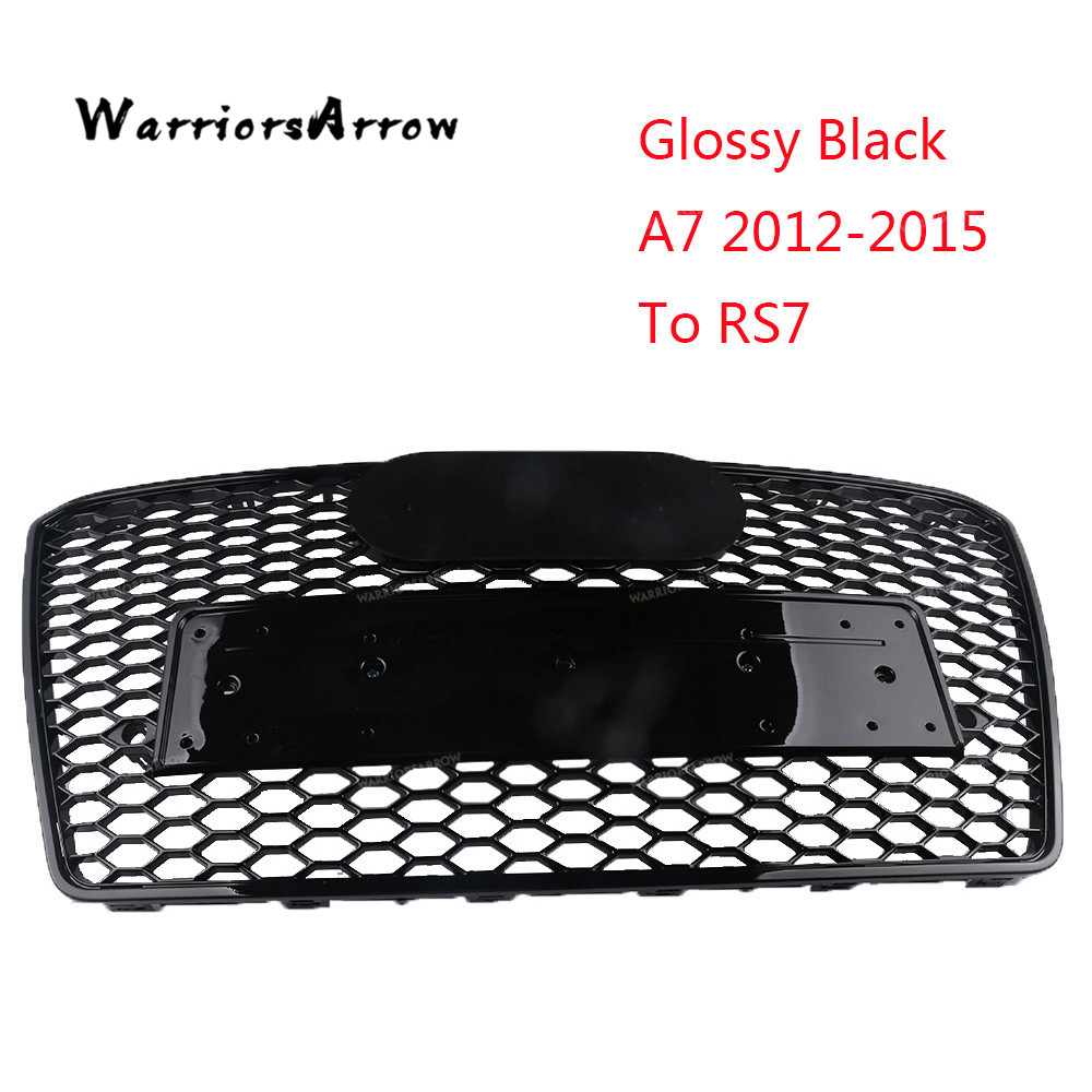 WarriorsArrow A7 2012 2015 TO RS7 Style Glossy Black Central Grille Front Bumper Racing Grills For