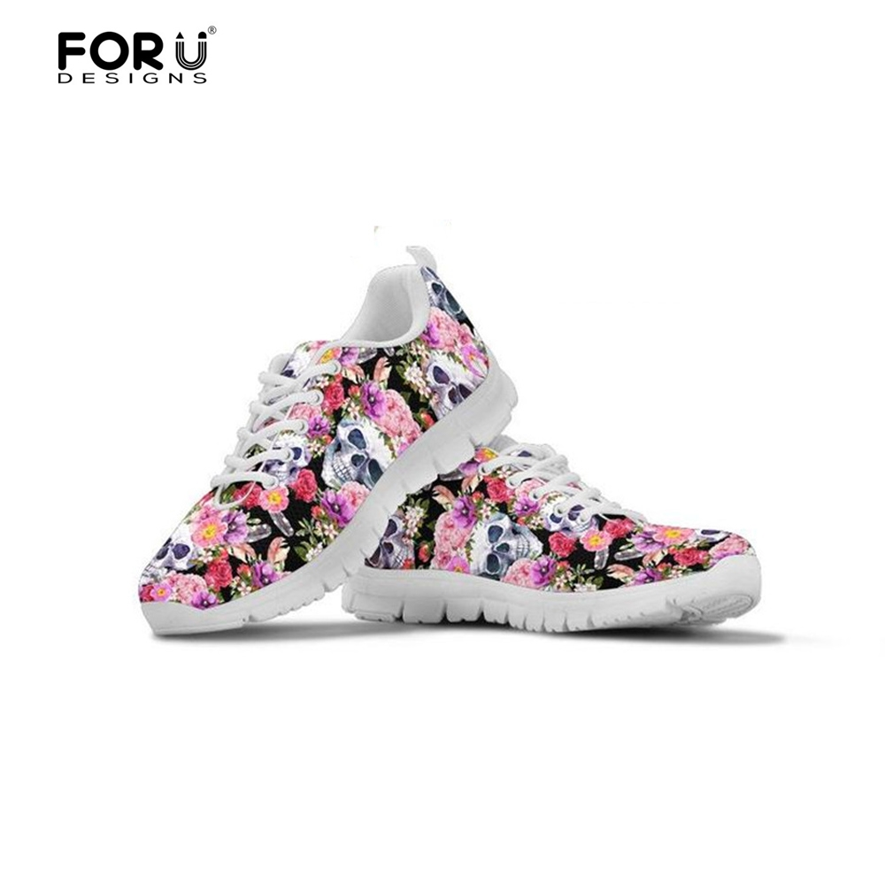 FORUDESIGNS Fashion Radiologist's Skull Brand Designer Women's Shoes Casual Flats Female Fashion Women Sneakers Light Lace-up instantarts women casual flats shoes ladies skull flower printed light air mesh fashion sneakers girl lace up shoes plus size
