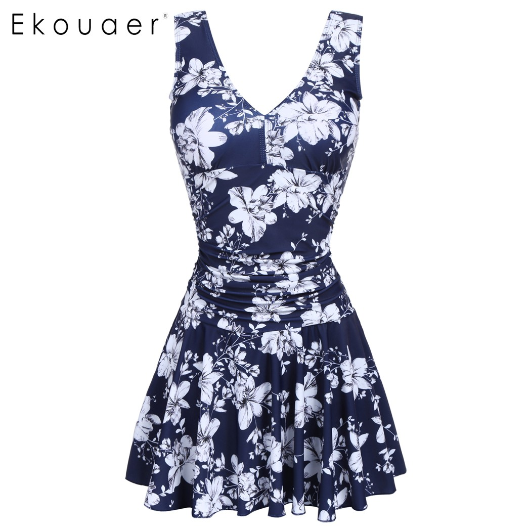 Ekouaer Super Swimwear Women 2017 Plus Size One Piece Floral Skirt Swimsuit Dress Hight Waist Slim Pleated Swimsuit Beachwear trendy solid color halter pleated one piece skirt swimwear for women