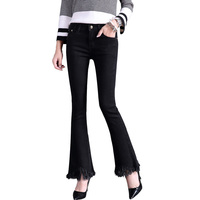 Free Shipping Hot Sale Spring Summer Candy Color Flare Trousers Women S Mid Waist Elastic Boot
