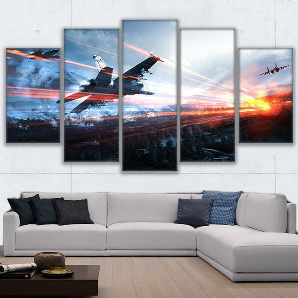Canvas Printed Living Room Framework HD Home Decor 5 Panel Game Battlefield Modern Painting Wall Art Modular Poster Pictures  1