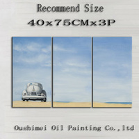 Hand Painted BlueSky Painting Car Prairie Oil Painting Hang Paintings Modern Group Of Picture Canvas Painting For Room Decor