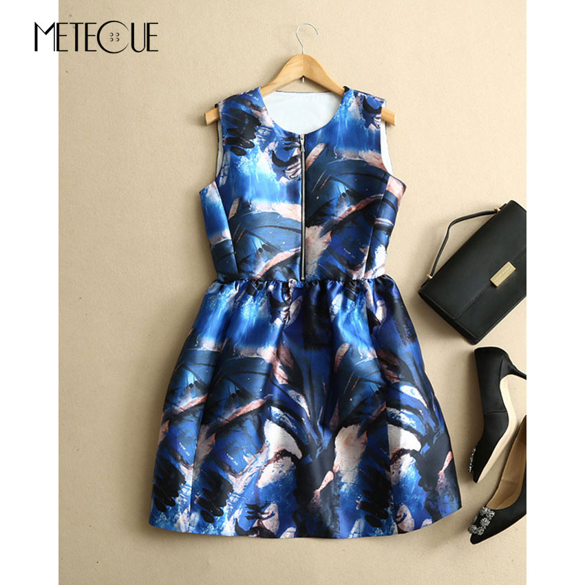 Blue Ink Dyeing Sleeveless Women Midi Dress Retro Front Zipper High Waist Side Pockets Dresses Spring Summer Clearance 2019