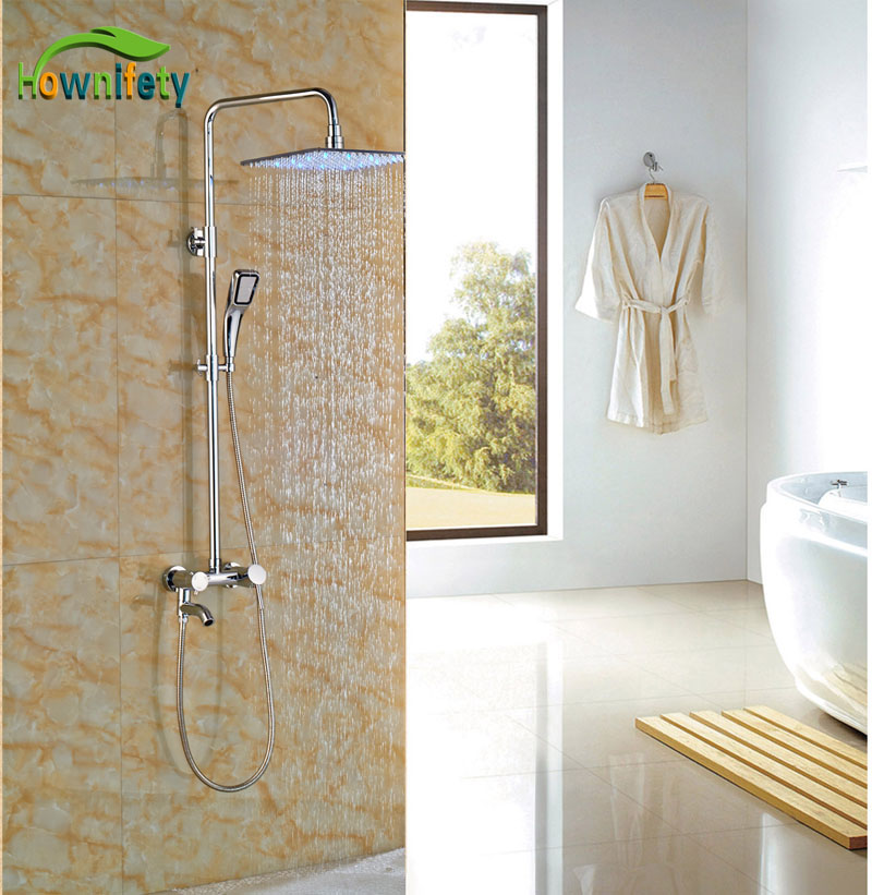 10 in led lights brass chrome polish shower set wall