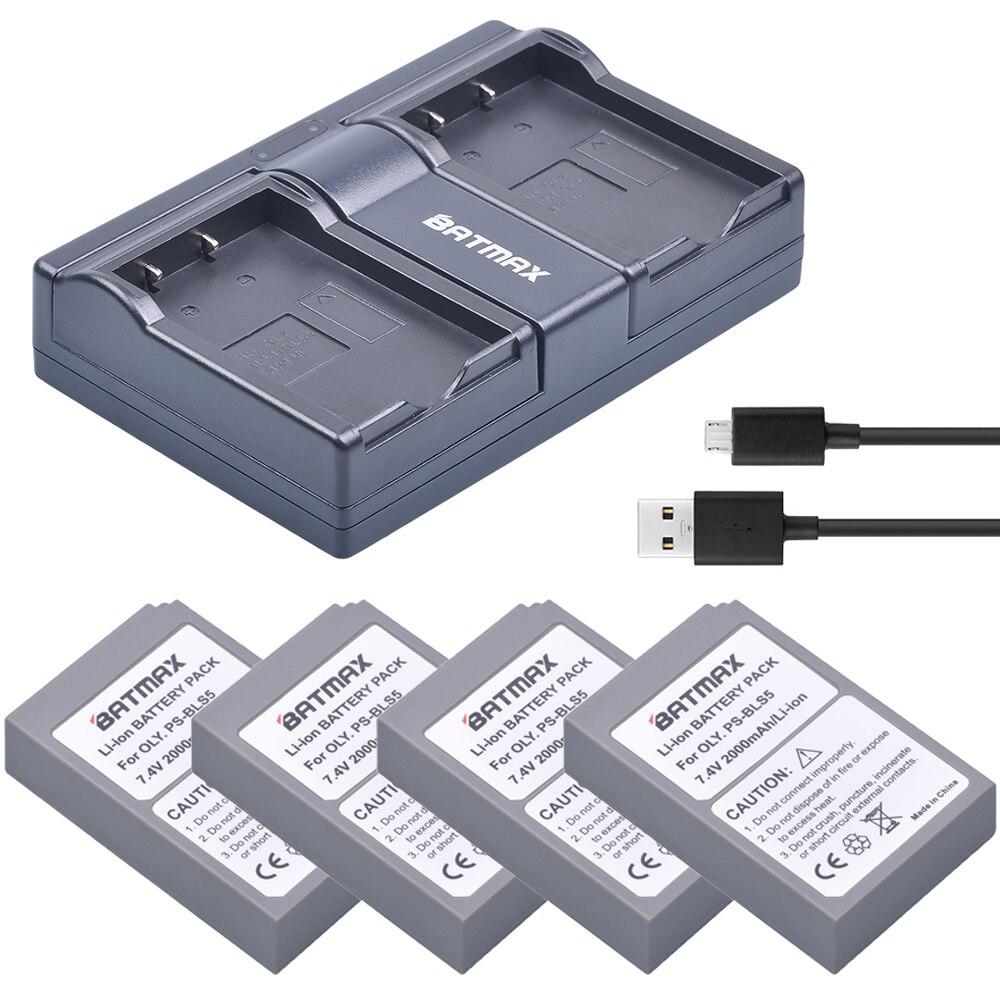 4 Pc PS-BLS5 BLS-5 BLS5 BLS 5 BLS-50 Batterie + Double USB Chargeur pour Olympus OM-D E-M10, PEN E-PL2, E-PL5, E-PL6, E-PM2, Stylus 1