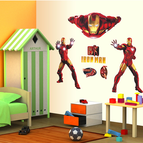 1 set 30*39 Inch Kids Bedroom Decorative Cartoon Wall Stickers Iron Man Removable PVC Decals Kids Wallpaper