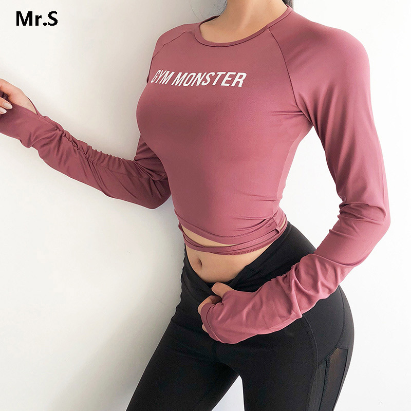 Solid Long Sleeve Yoga Crop Top Gym Shirts for Women Workout Shirts with thumb holes Fitness Running Sport T-Shirts Training Top 1