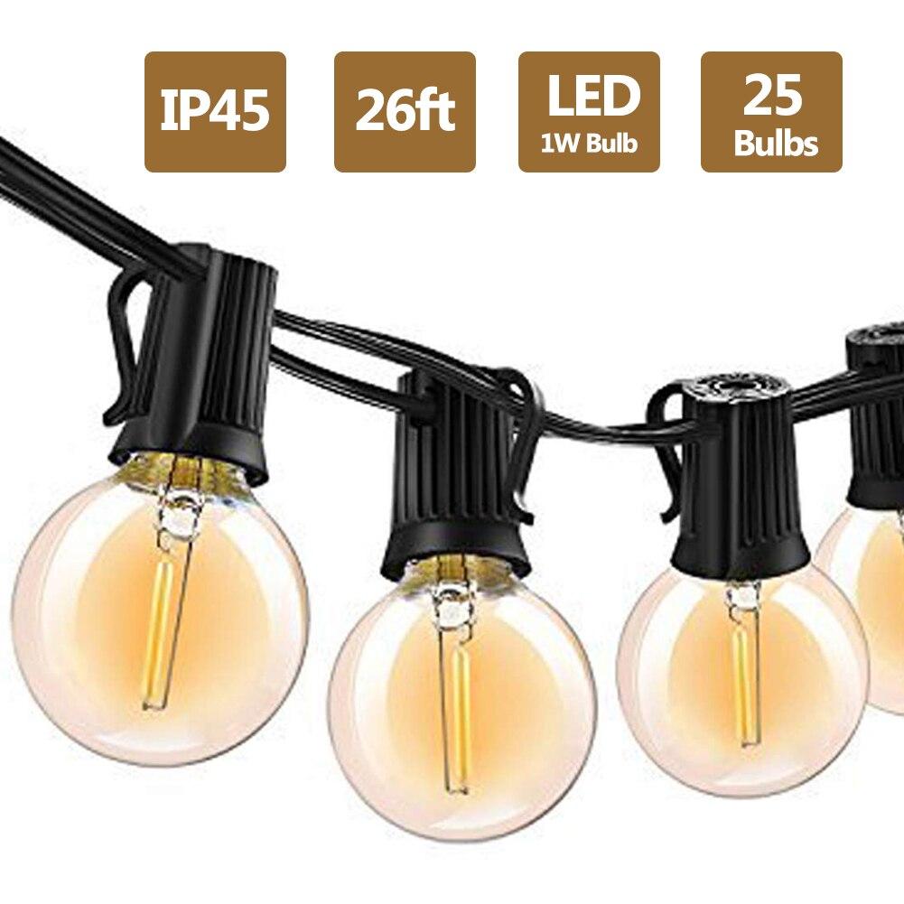 G40 Led String Lights 26Ft 25PCS Vintage LED Bulb 1W 2700K IP45 Waterproof Indoor Outdoor Light String For Backyard Patio Lights