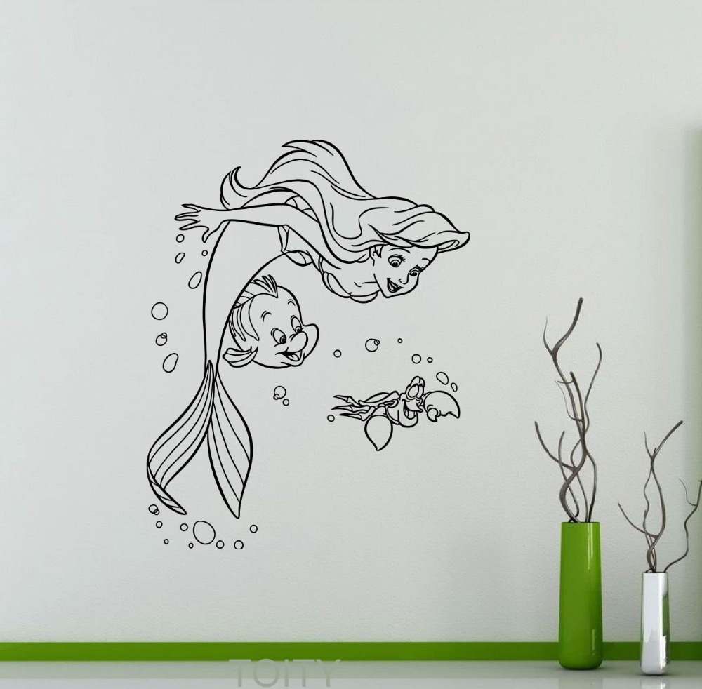 Mermaid bathroom decor for kids - Ariel Mermaid Vinyl Sticker Princess Flounder Sebastian Cartoons Wall Decal Home Kids Girl Boy Nursery Bathroom