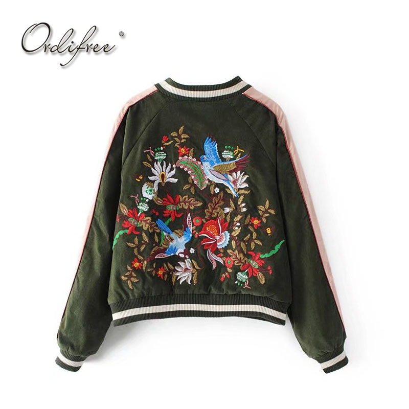 Ordifree 2019 Luxury Women Bomber Jacket Floral Embroidery Baseball Jacket Coat Outwear Birds Embroidered Basic Jackets