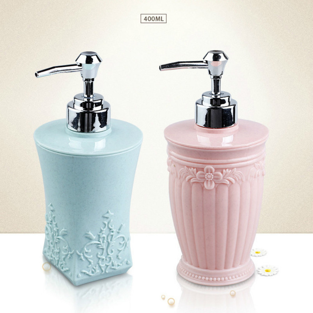 400ML European-style Carved Shower Gel Divided Empty Bottle Hand Sanitizer Shampoo Dispenser Resin Soap Emulsion Pressed Bottles