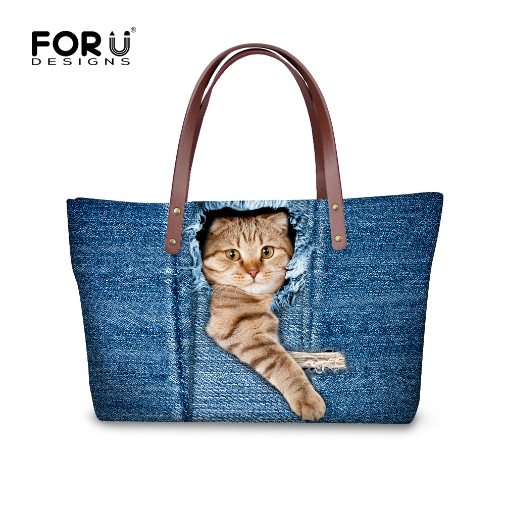 FORUDESIGNS Vintage Blue Denim Pet Cat Printed Women Large Handbags Fashion Ladies Shoulder Bags For Girls Female Big Tote Bag forudesigns casual women handbags peacock feather printed shopping bag large capacity ladies handbags vintage bolsa feminina