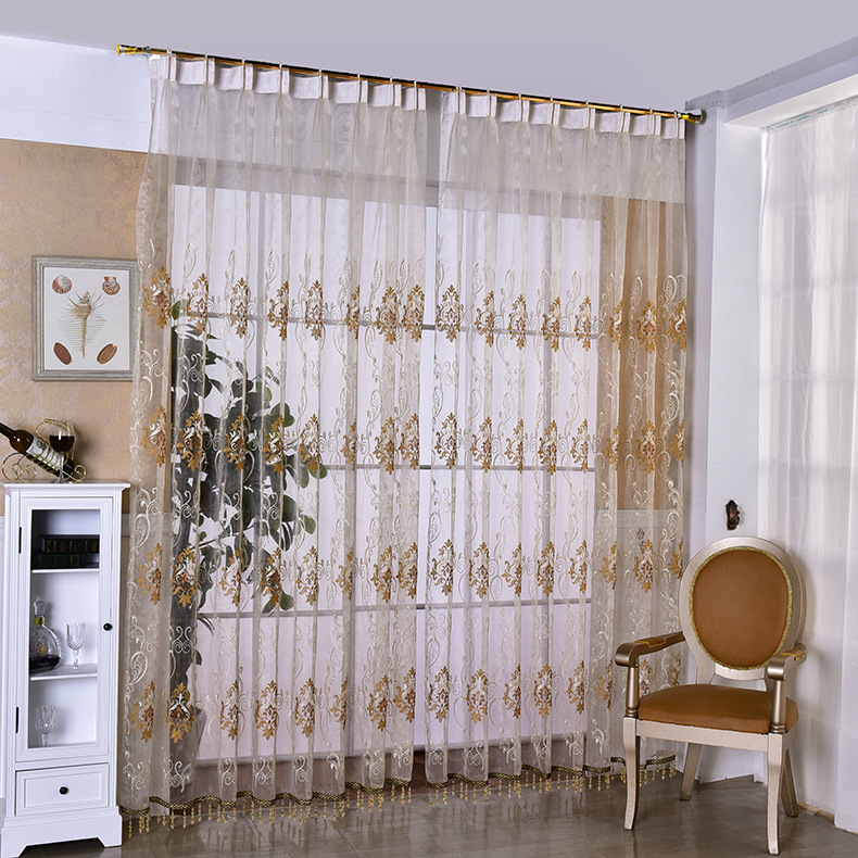 Curtains for Living Dining Room Bedroom European Luxury Curtain Yarn Jacquard Mesh Shallow Caffeine Embroidery